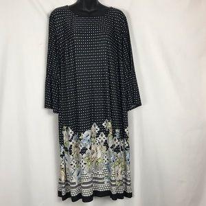 Avenue Plus size Black with Flowers Poka Dot Dress